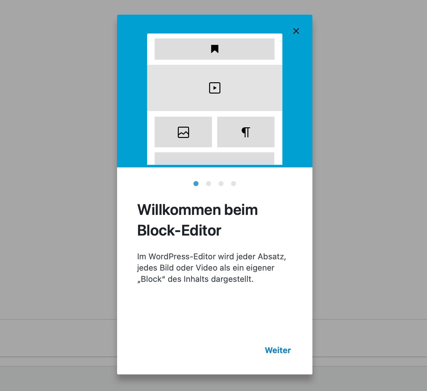 Der Willkommens-Guide im Block-Editor