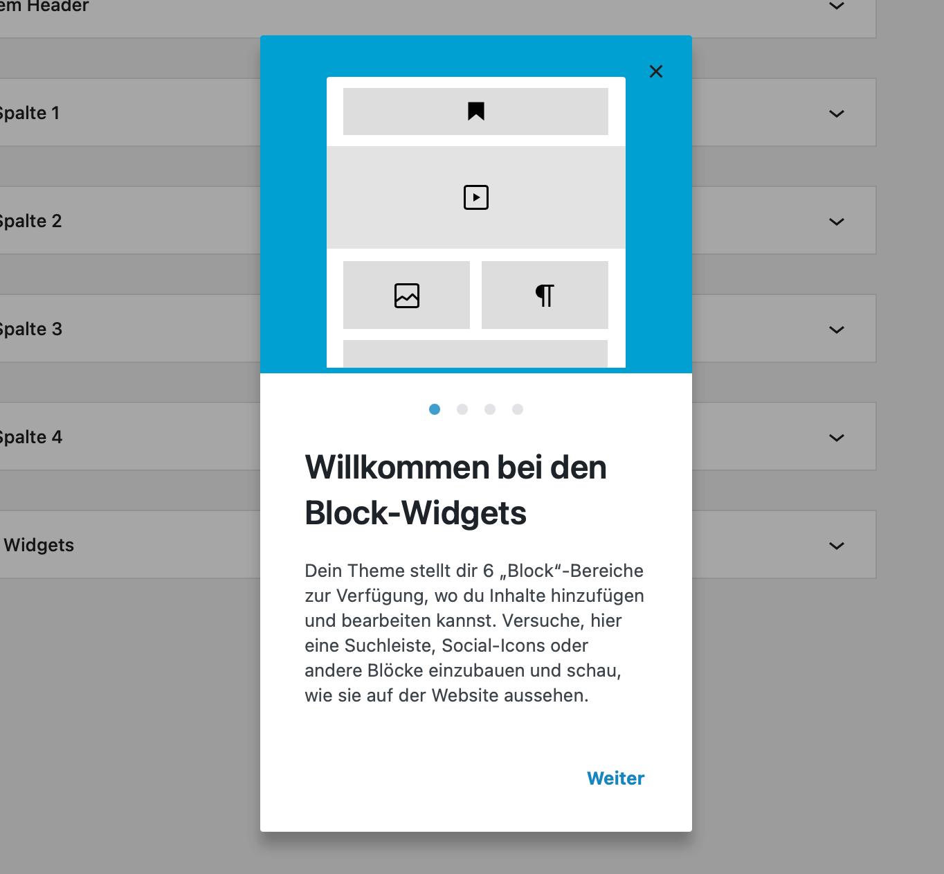 Der Willkommens-Guide bei den Block-Widgets